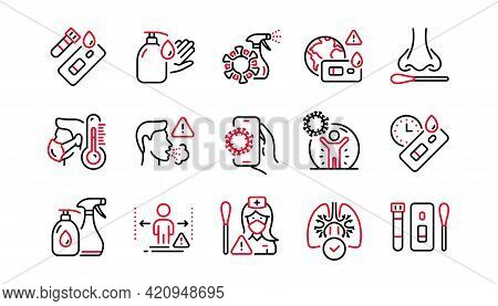 Covid Test Line Icons. Nasal Swab, Blood Testing, Waiting Time. Social Distance, Hand Sanitizer, Rap