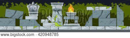Game Vector Seamless Landscape, Cartoon Jungle Maya Temple Ruin Background, Stone Altar, Fire, Bould