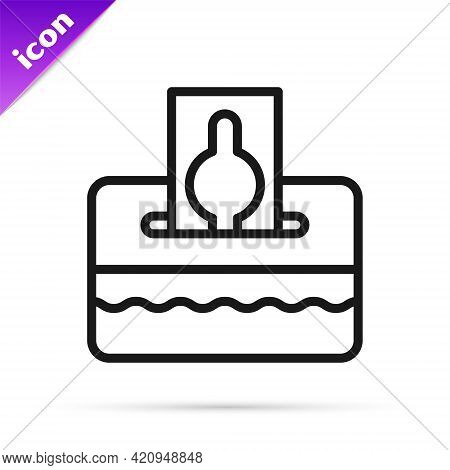 Black Line Donate Or Pay Your Zakat As Muslim Obligatory Icon Isolated On White Background. Muslim C