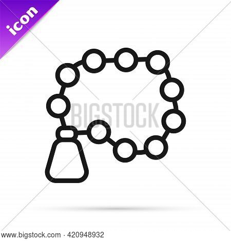 Black Line Rosary Beads Religion Icon Isolated On White Background. Vector