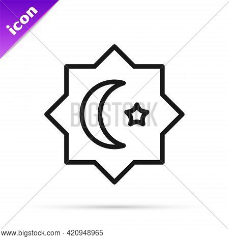 Black Line Islamic Octagonal Star Ornament Icon Isolated On White Background. Vector