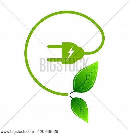 Green Energy Concept Leaves And Wires Logo, Vector Art Illustration.