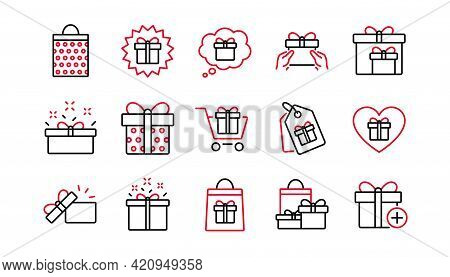 Gift Line Icons. Present, Special Offer And Sale. Shopping Linear Icon Set. Linear Set. Quality Line