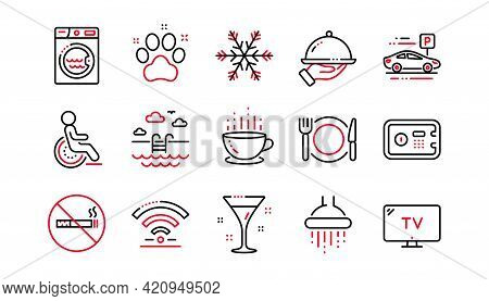 Hotel Service Line Icons. Wi-fi, Air Conditioning And Washing Machine. Pets, Swimming Pool And Hotel