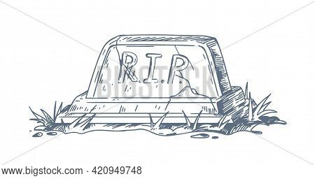 Christian Tomb With Tombstone And Rip Or Rest In Peace Inscription. Sketch Of Catholic Grave With Gr
