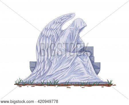 Cemetery Gravestone With Angel Sculpture. Catholic Tombstone And Sitting Statue With Wings. Christia