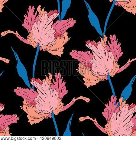 Terry Pink Pretty Tulips. Seamless Pattern. Hand Drawn Vector Illustration. Line Art. Texture For Pr