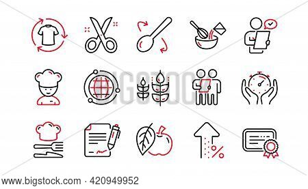 Chef Hat, Customer Survey, Approved Application Line Icons. Scissors Cutting, Certificate Icons. Int