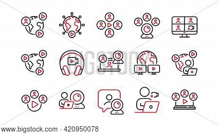 Online Meeting Line Icons. Video Conference, Virtual Presentation, Live Chat Icons. Team Video, Digi