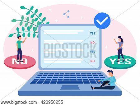 Modern Style Vector Illustration. Online Survey, Online Voting, Online Survey Technology Concept Wit