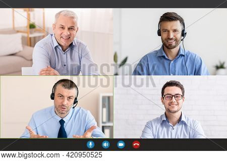 Remote Communication During Covid Outbreak. Screen With Happy Male Colleagues Discussing Business Is