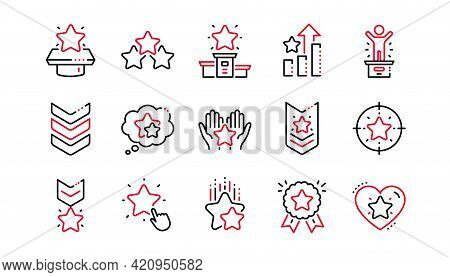 Ranking Line Icons. First Place, Star Rating And Winner Medal. Shoulder Strap, Army Achievement And