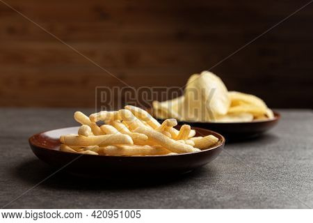 Potato Chips And French Fries Snack In Dish.