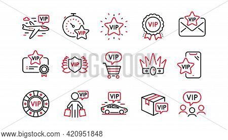 Vip Line Icons Set. Very Important Person, Delivery Parcel, Casino Chips. Certificate Medal, Player