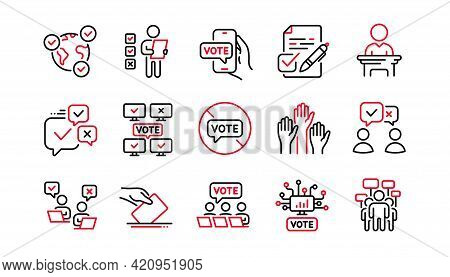 Voting Line Icons. Public Election, Vote Ballot Paper Icons. Candidate, Politics Voting And People V