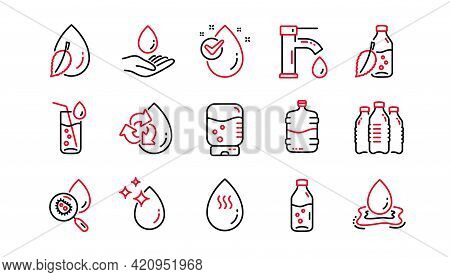 Water Drop Line Icons. Bottle, Antibacterial Filter And Tap Water. Clean Water Linear Icon Set. Line