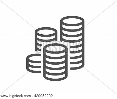 Coins Line Icon. Cash Money Sign. Business Income Symbol. Quality Design Element. Linear Style Coins