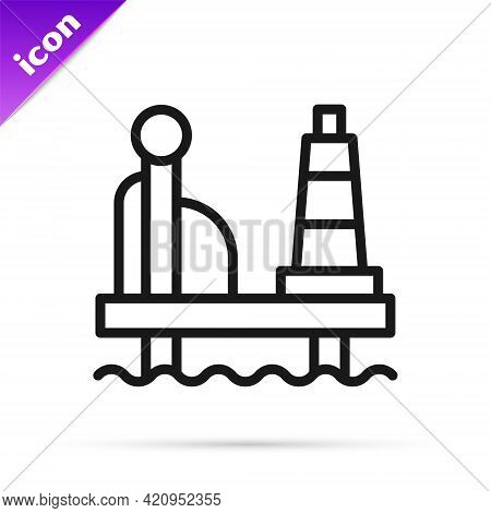 Black Line Oil Platform In The Sea Icon Isolated On White Background. Drilling Rig At Sea. Oil Platf