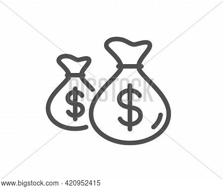 Coins Bags Line Icon. Cash Money Sign. Income Savings Symbol. Quality Design Element. Linear Style C