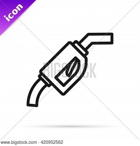 Black Line Gasoline Pump Nozzle Icon Isolated On White Background. Fuel Pump Petrol Station. Refuel