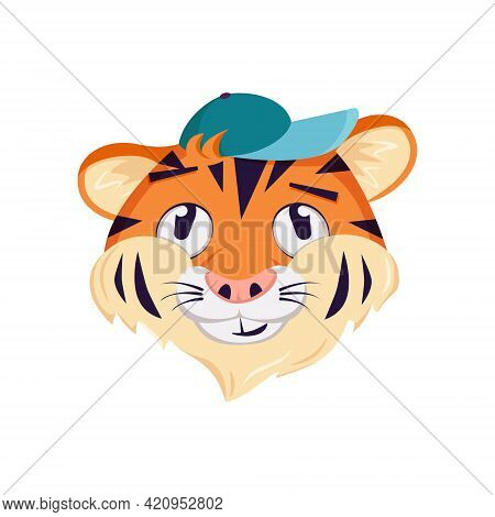 Cute Tiger Character, Face With Pensive, Thoughtful Emotions. Wild Animals Of Africa, Funny Or Smile