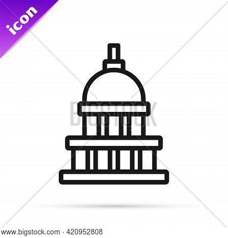 Black Line White House Icon Isolated On White Background. Washington Dc. Vector