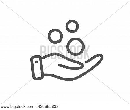 Donation Money Line Icon. Money Savings Sign. Donate Cash Symbol. Quality Design Element. Linear Sty