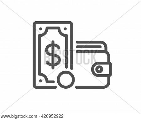 Wallet Money Line Icon. Cash Coin Sign. Dollar Banknote Symbol. Quality Design Element. Linear Style