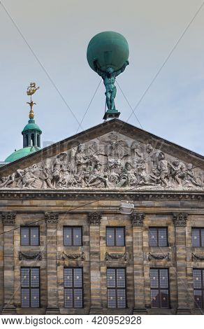 28 April 2021, Amsterdam, Netherlands, The Royal Palace Of Amsterdam Or Koninklijk  Paleis, Which Is