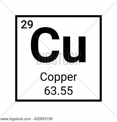 Copper Symbol Periodic Table Element. Cu Chemistry Copper Chart Vector Sign