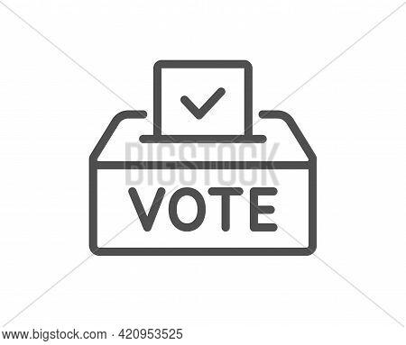 Vote Box Line Icon. Voting Ballot Sign. Public Election Symbol. Quality Design Element. Linear Style