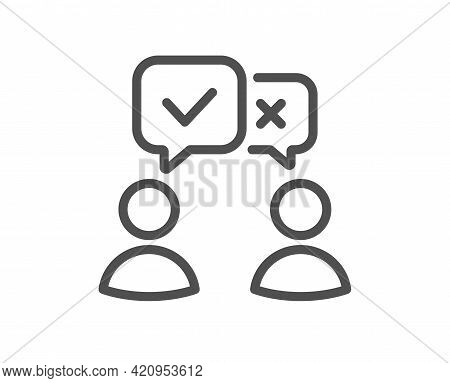 People Voting Line Icon. Internet Vote Sign. Web Election Symbol. Quality Design Element. Linear Sty