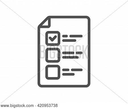 Voting Ballot Paper Line Icon. Vote Checklist Sign. Public Election Symbol. Quality Design Element.