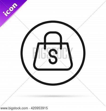 Black Line Shopping Bag With An Inscription Sale Icon Isolated On White Background. Handbag Sign. Wo