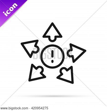 Black Line Many Ways Directional Arrow Icon Isolated On White Background. Vector