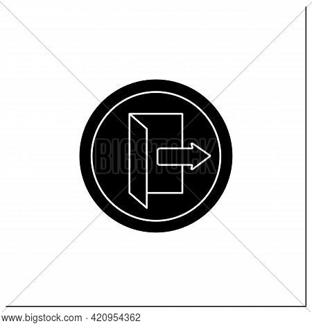 Exit Symbol Glyph Icon. Closest Emergency Exit. Keep Door Opened. Public Place Navigation. Universal