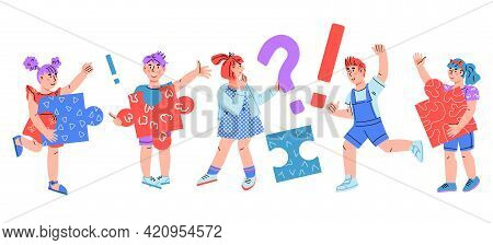 Smart Clever Children Asking Questions And Having Solution, Cartoon Vector.