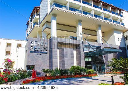 Goynuk, Antalya, Turkey - May 11, 2021: Main Entrance Of Seven Seas Hotel Life Ultra All Inclusive A