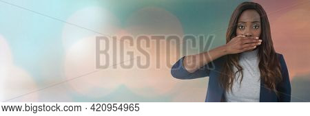 Black woman putting her hand in front of her mouth against ligh concept background. digitally generated image.