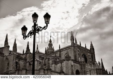 The Cathedral of Saint Mary of the See or Seville Cathedral as the famous landmark in Seville, Spain.