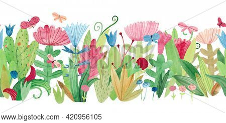 Watercolor floral seamless pattern with wildflowers, herbs and butterflies. Panoramic horizontal isolated illustration. Seamless pattern. Horizontal border.