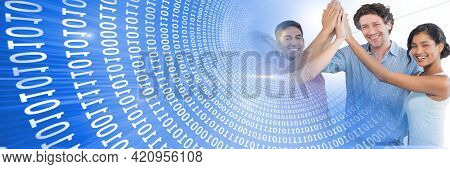 Composition of binary coding over business people high fiving. business, success, motivation and teamwork concept digitally generated image.