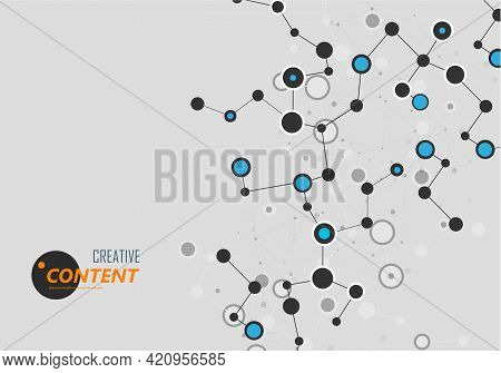 Modern Illustration With Science Molecule Connectivity For Medical Design. Scientific Research Conce