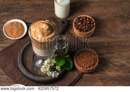 Dalgona Coffee On A Brown Background With Space To Copy. A Refreshing, Invigorating Drink.