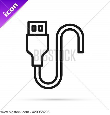 Black Line Usb Cable Cord Icon Isolated On White Background. Connectors And Sockets For Pc And Mobil