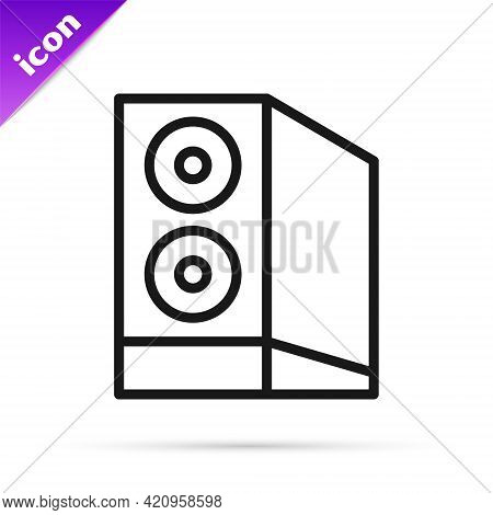 Black Line Case Of Computer Icon Isolated On White Background. Computer Server. Workstation. Vector