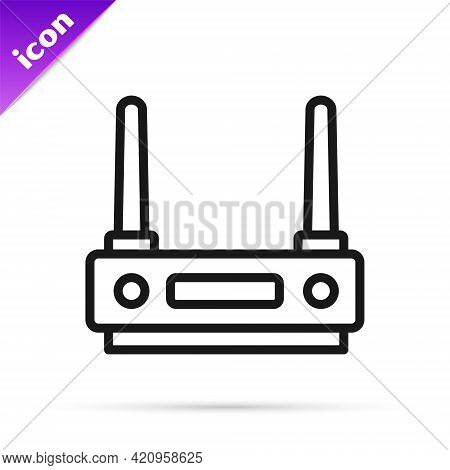 Black Line Router And Wi-fi Signal Icon Isolated On White Background. Wireless Ethernet Modem Router