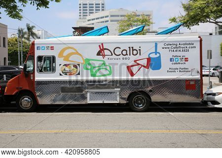 May 14, 2021 Santa Monica California, USA:  Food Trucks. Food Trucks parked on the street in Santa Monica California. Editorial Use.