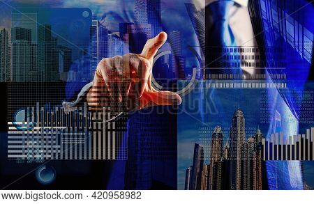 Hand Interact Virtual Display Business Graphic. Create Virtual Wallet. Mining Virtual Money. Solve B
