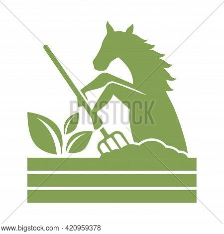 Horse Manure Icon For Fertilzers - Emblem For Renewable Recycling Products. Natural Organic Agricult